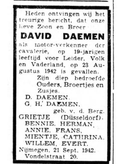 Oorlogsdoden Nijmegen 1940-1945 - C. van der Bilt